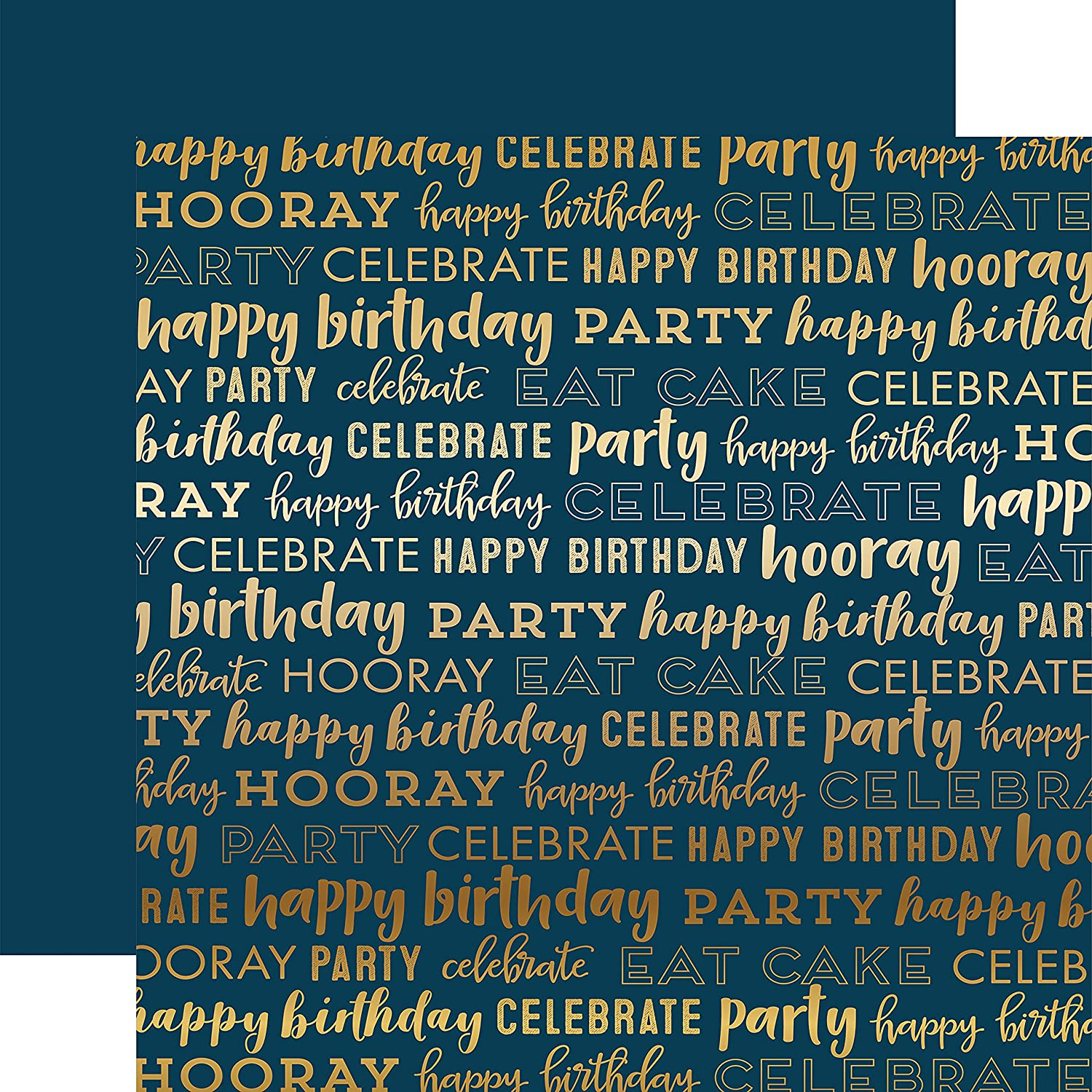 Echo Park Carta Carta Carta Bella Happy Birthday Foil Double-Sided Cardstock 12 -Navy W Gold B07BXRPWG4 |  Neuer Markt
