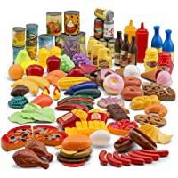 JaxoJoy Kit Assortiment de 122 Pièces de Nourriture en Jouet