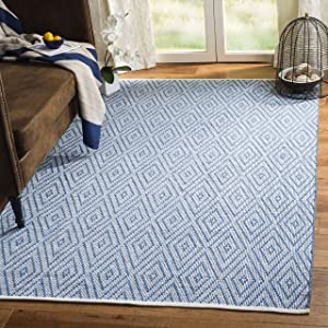 Safavieh Montauk Collection MTK811B Handmade Flatweave Blue and Ivory Cotton Area Rug (5' x 7')
