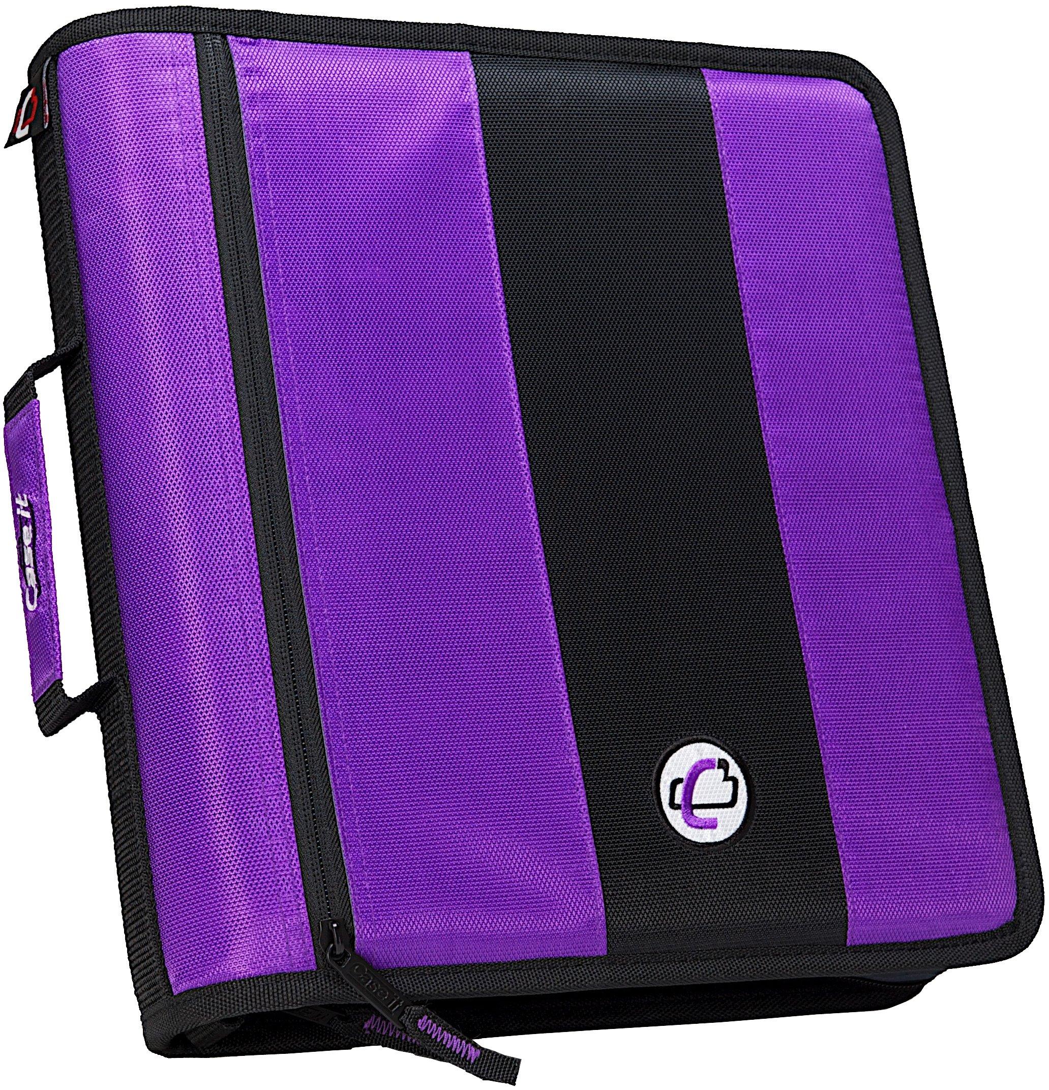 """Case It 2"""" 3 Ring Zipper Binder Purple Portfolio Organizer"""