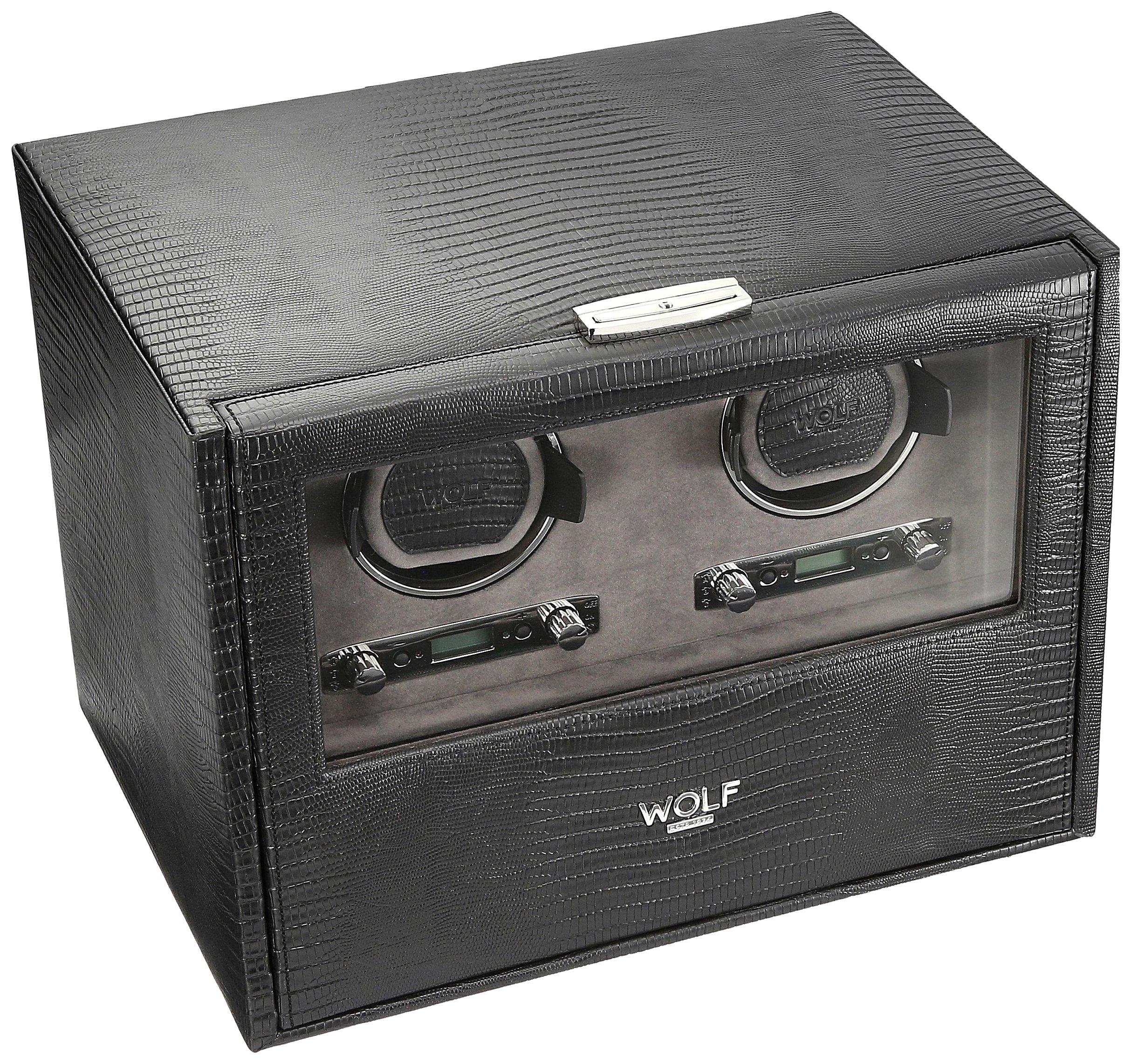 WOLF 460758 Blake Double Watch Winder with Storage, Black