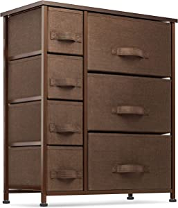 7 Drawers Dresser - Furniture Storage Tower Unit for Bedroom, Hallway, Closet, Office Organization - Steel Frame, Wood Top, Easy Pull Fabric Bins Brown/Brown