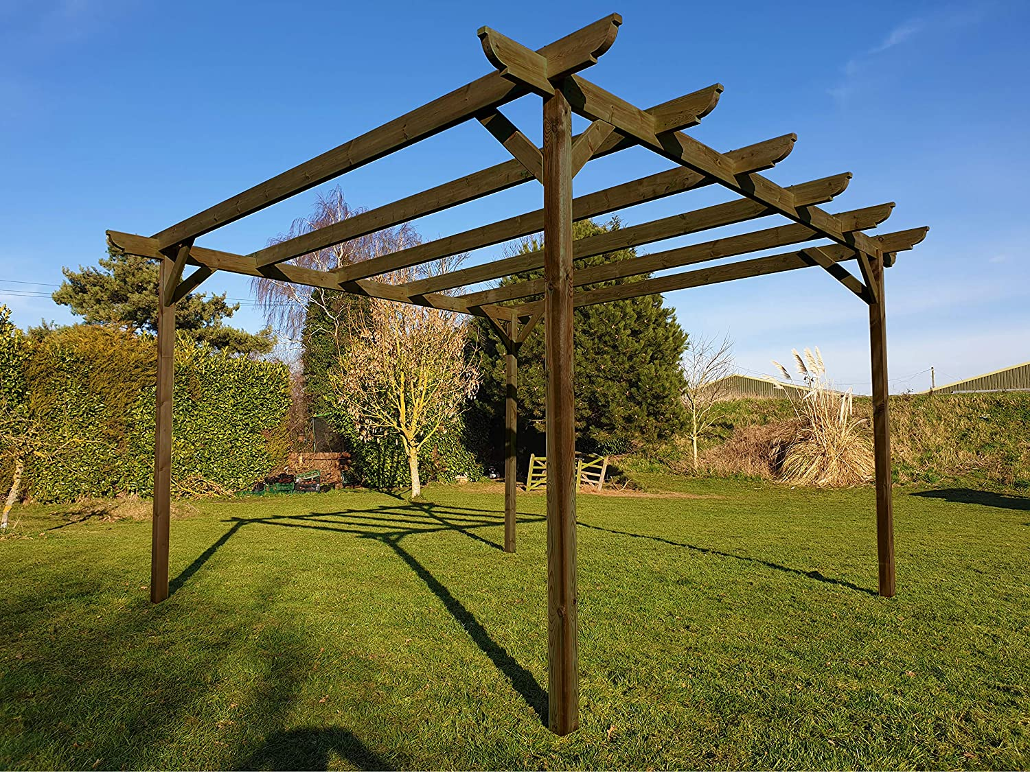 GMS TIMBER LTD - Pérgola de Madera para jardín, Color Verde Claro o marrón rústico: Amazon.es: Jardín