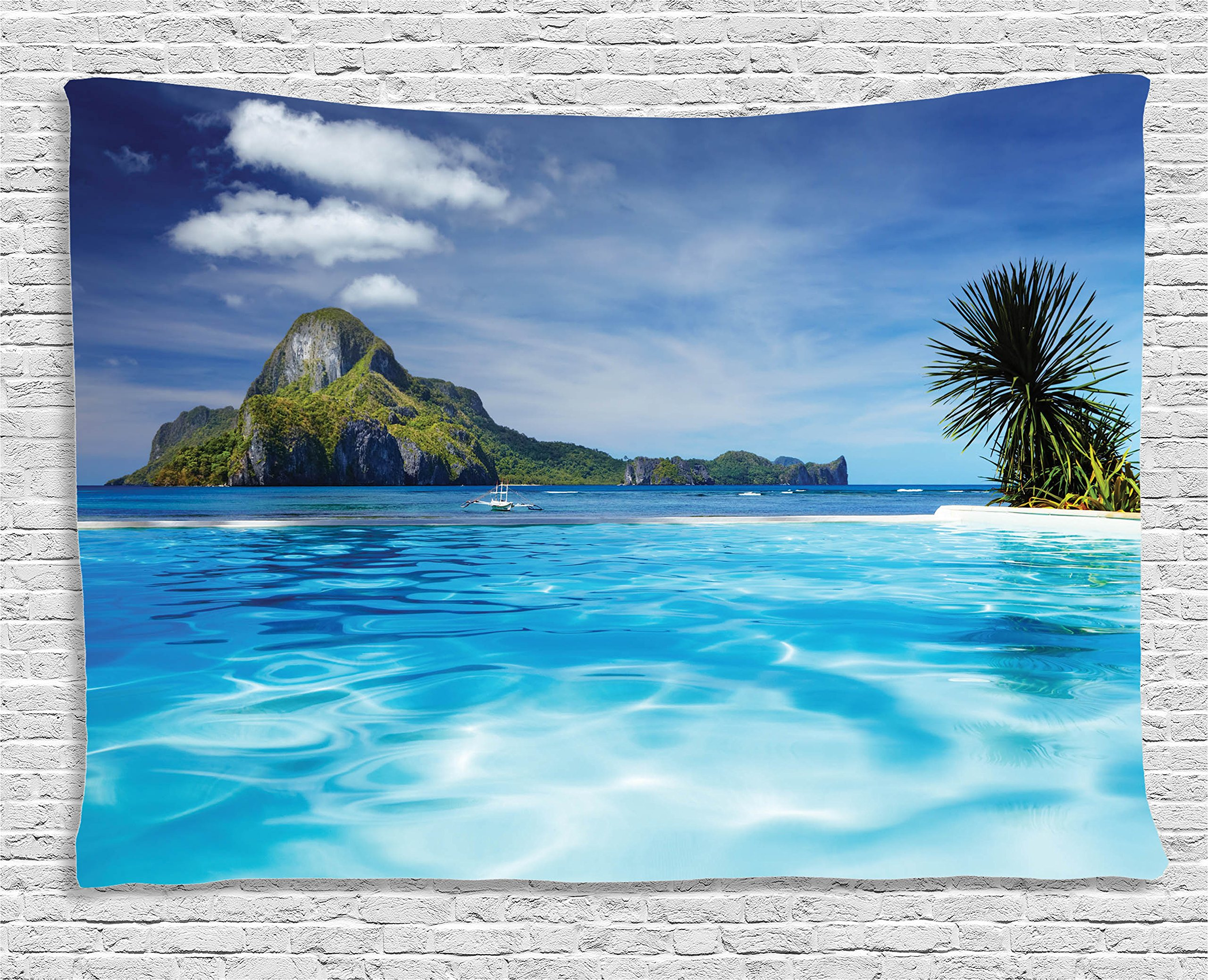Ambesonne House Decor Collection, Landscape Swimming Pool Distant Island Tropical Exotic Hawaiian Dream Theme, Bedroom Living Room Dorm Wall Hanging Tapestry, 60 X 40 inches, Turquoise Green