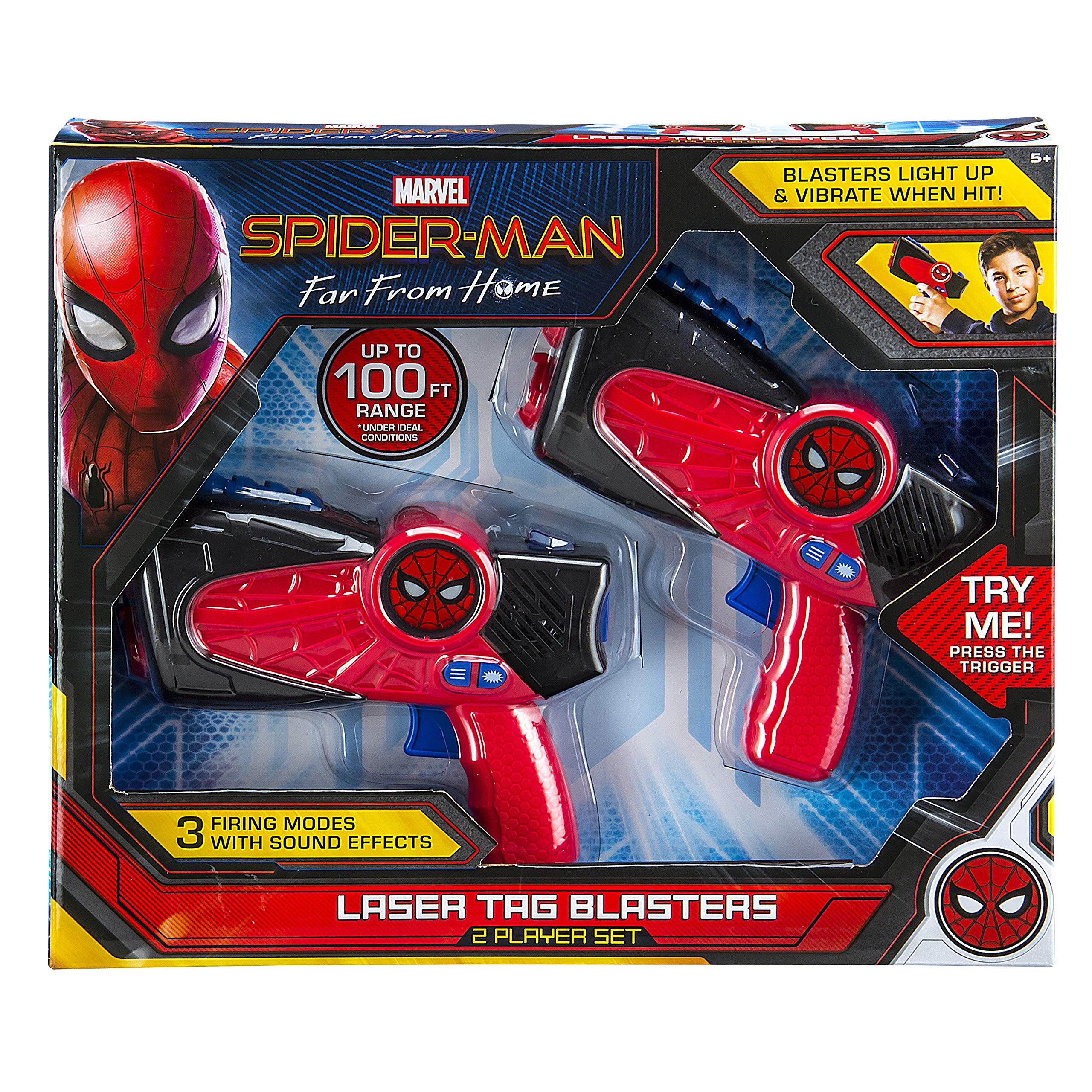 Spiderman Far from Home Laser-Tag for Kids Infared Lazer-Tag Blasters Lights Up & Vibrates When Hit by eKids (Image #5)