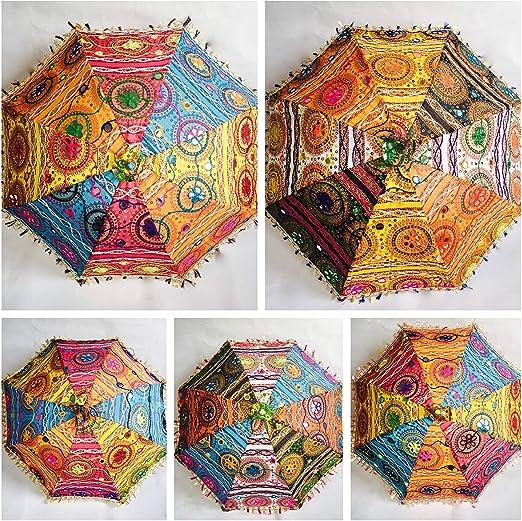 Bazzaree Sombrilla de algodón Indio 5 Wholesale para Mujer con Bordado y protección Solar: Amazon.es: Hogar