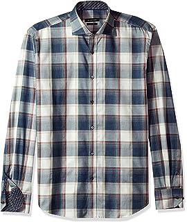 BUGATCHI Mens Duncan Long Sleeve Mini Gingham Check Button Down Shirt