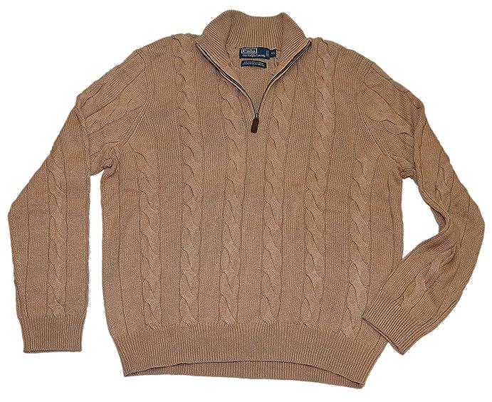 Polo Ralph Lauren Men Half-Zip Cable Ribbed Silk Cashmere Sweater Beige  Brown XL
