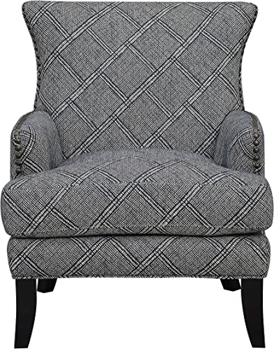 Artum Hill Accent Chair with Clean Lines and Nailhead Trim Home-Office-Furniture, Charcoal Print