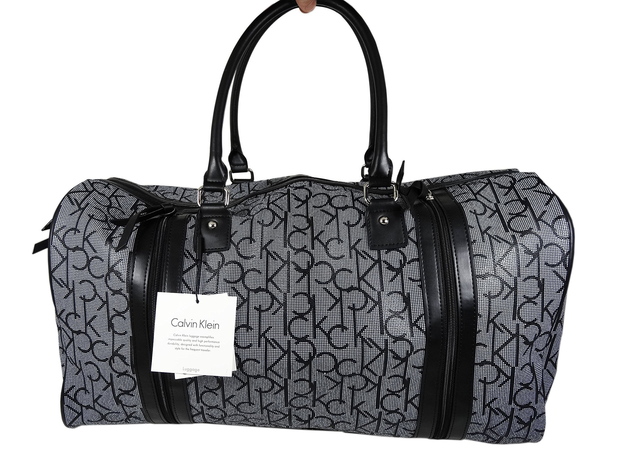 Calvin Klein Large Two Zippered Front Duffle Bag Luggage CK (Black/White)