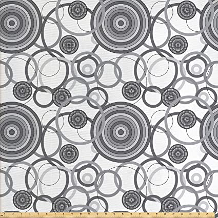 Amazon Com Ambesonne Grey Decor Fabric By The Yard Swirling