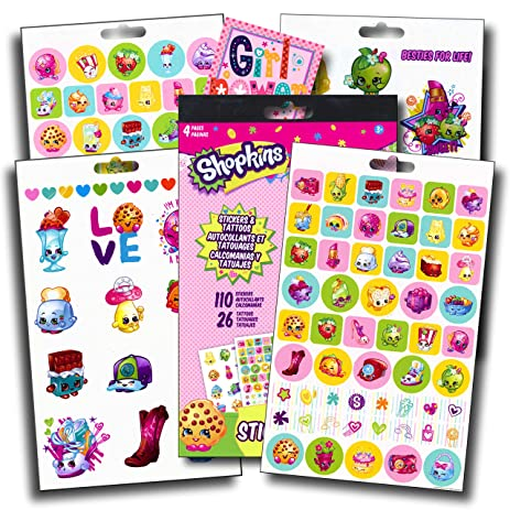 SHOPKINS Girls Fun Set With Shopkins Stickers Tattoos Specialty PopArt Sticker Apple