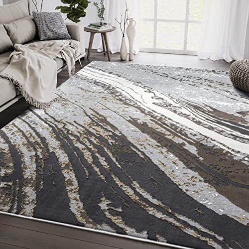Modern Grey Marble 7 9 x10 2 Area Rug by Abani Rugs Aspen Collection – Contemporary Area Rug