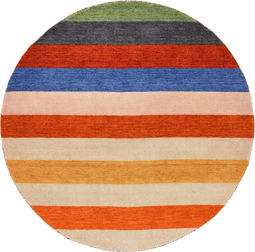 Unique Loom Indo Gabbeh Collection Modern Striped Multi Round Rug 6 4 x 6 4