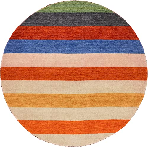 Unique Loom Indo Gabbeh Collection Modern Striped Multi Round Rug 6 4 x 6 4