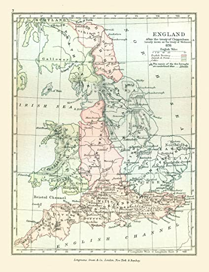 Full Map Of England.Amazon Com Old Great Britain Map England In 878 Gardiner 1902