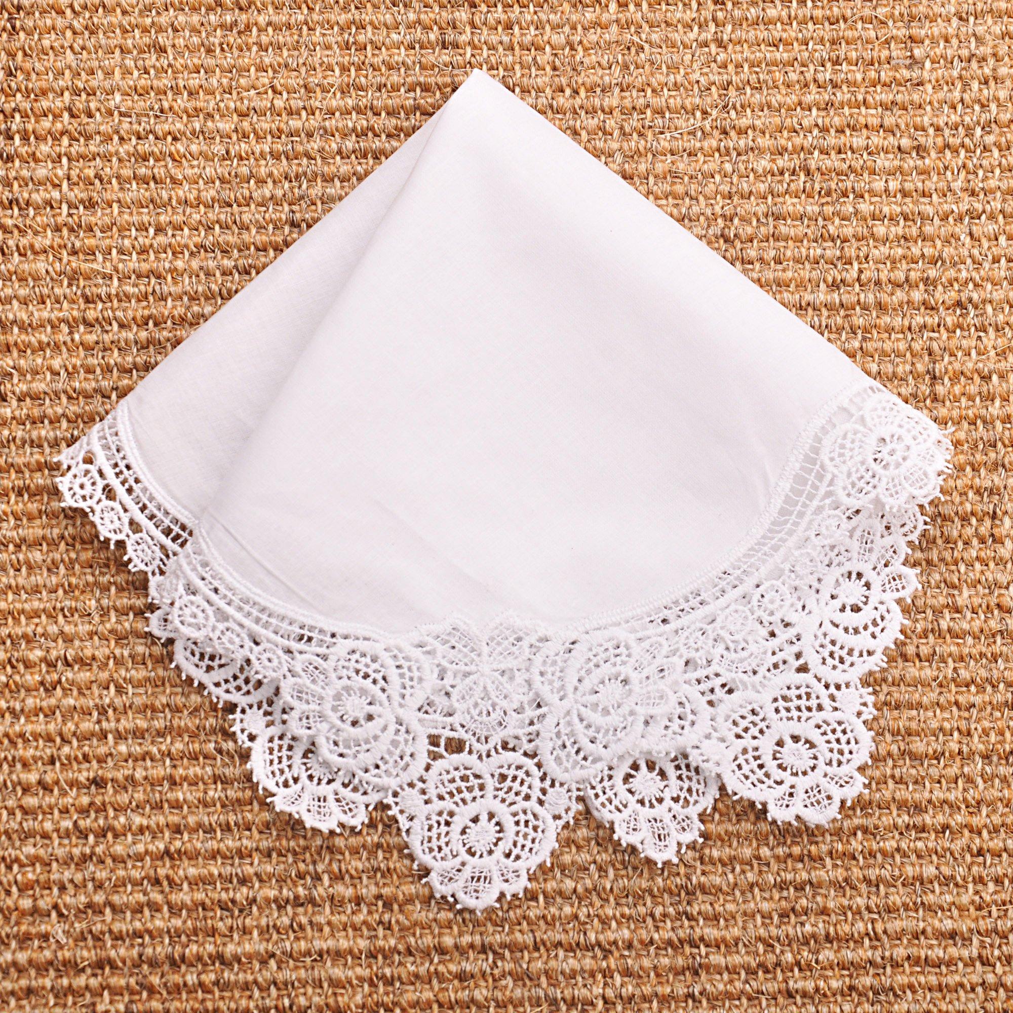 Milesky Bridal Wedding Crochet Lace Handkerchief Premium 60S Cotton CH02 by Milesky (Image #3)
