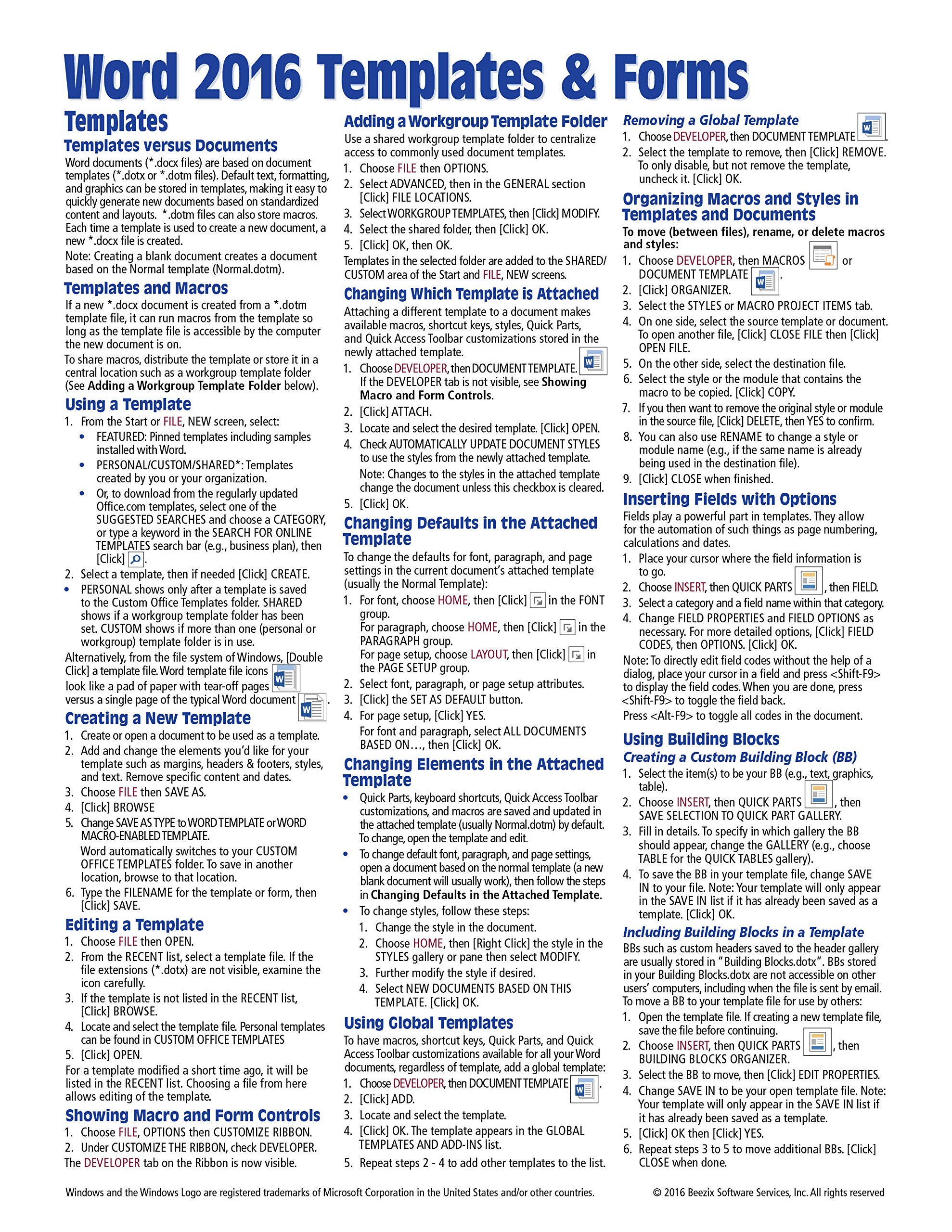 Microsoft Word 2016 Templates & Forms Quick Reference Guide ...