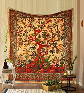 THE ART BOX Tapestry Yellow and Orange Tree of Life Wall Hanging Psychedelic Tapestries Indian Cotton Twin Bedspread Picnic Sheet Wall Decor Blanket Wall Art Hippie Bedroom Décor (Full, 85x90 Inch)