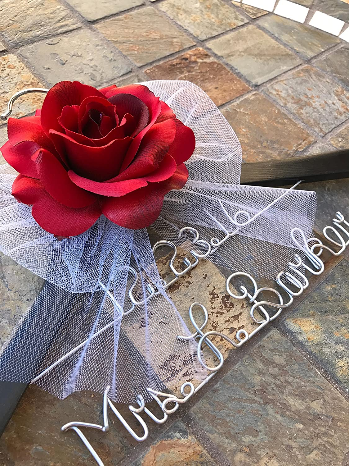 Black Personalized Wedding Hanger with Red Rose - Personalized Wedding Hanger - Bridal Gift - Engagement Gift - Bridesmaid Gift - Bride to Be