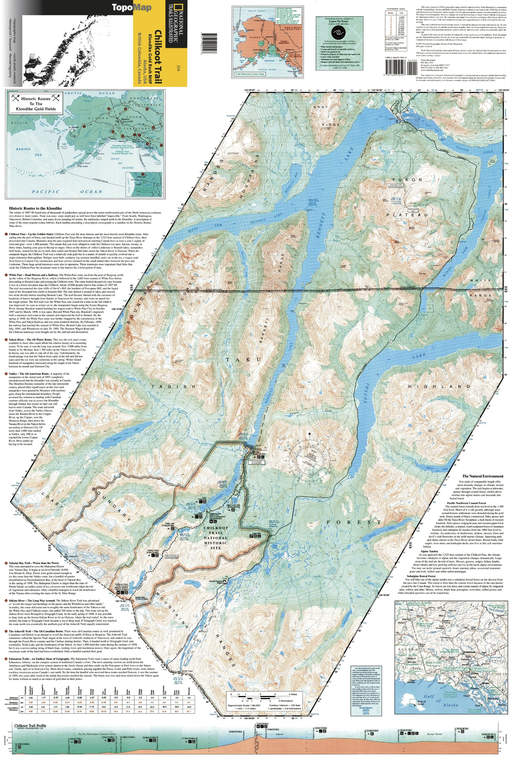 Chilkoot Trail Elevation Map.Chilkoot Trail Klondike Gold Rush Nhp Alaska Usa British