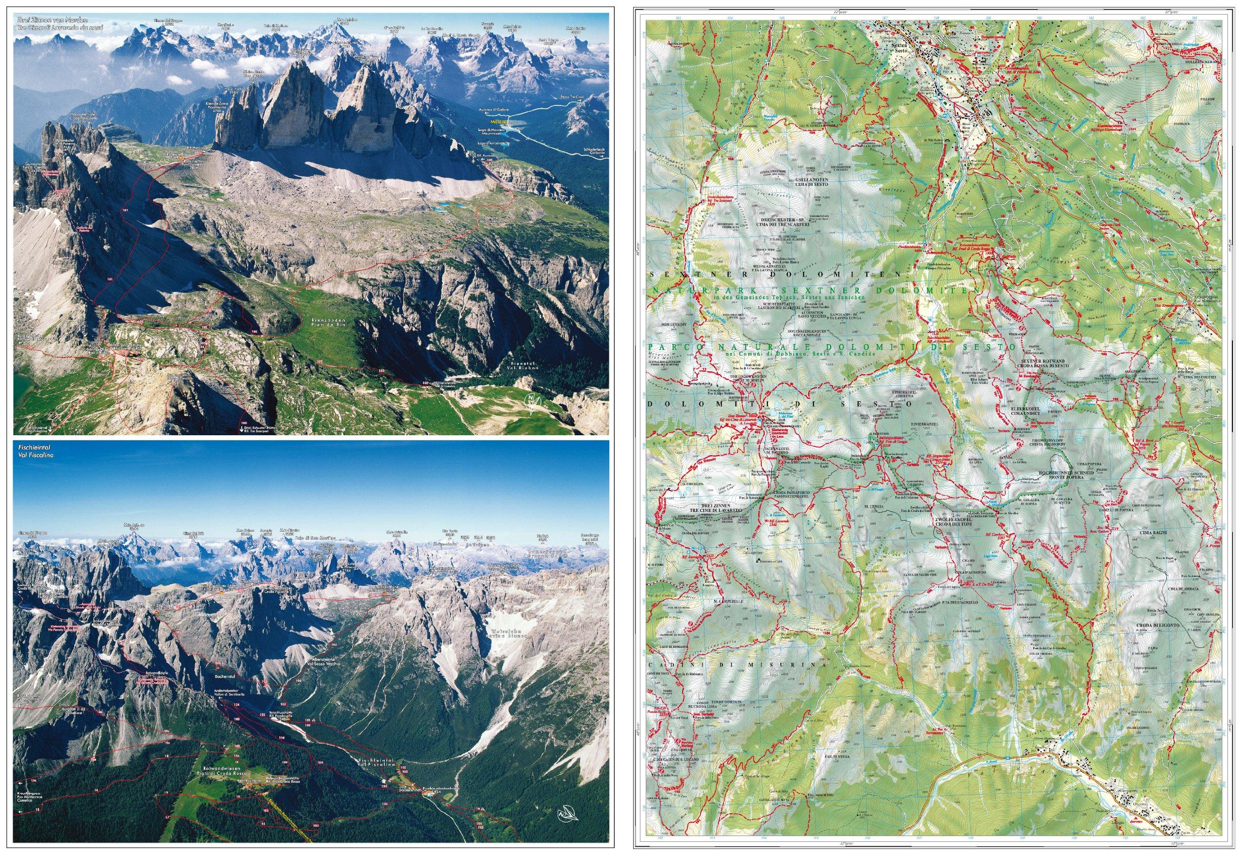 Cartina 3 Cime Di Lavaredo.Wanderkarte Drei Zinnen 1 25 000 Cartina Escursionistica Tre Cime Di Lavaredo 9788870736830 Amazon Com Books