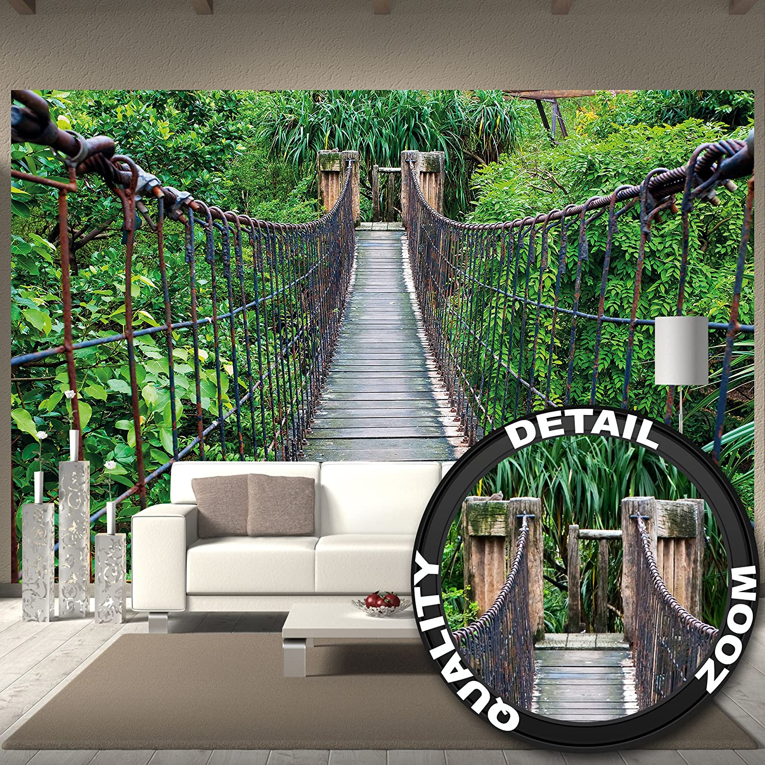 rope bridge jungle xxl mural poster 132 3 inch x 93 7 ebay. Black Bedroom Furniture Sets. Home Design Ideas
