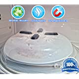Microwave Hovering Anti Splattering Magnetic Food Lid Cover Guard - Microwave Splatter Lid with Steam Vents & Microwave Safe Magnets - Dishwasher Safe & Sticks To The Top Of Your Microwave
