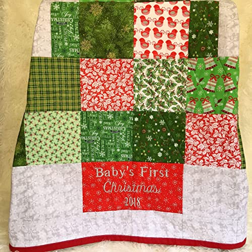 Amazon.com: Baby\'s First Christmas Embroidered Nursery Quilt Shower ...