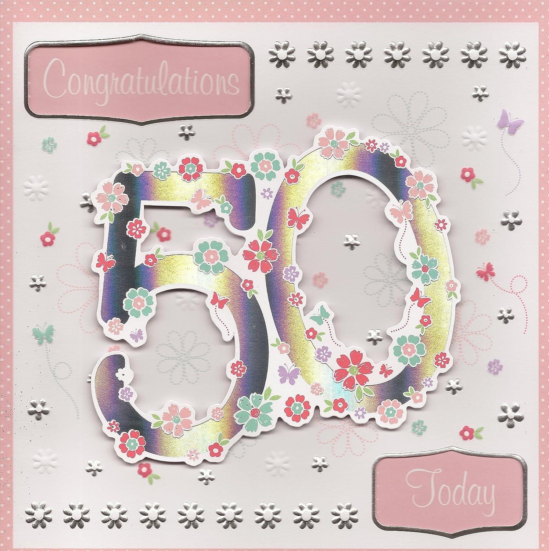 Felicidades hoy 50 cumpleaños de tarjetas y sobres 9: Amazon ...