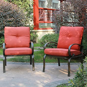 Cloud Mountain Set Of 2 Patio Club Chairs Outdoor Patio Dining Chairs  Wrought Iron Set Garden