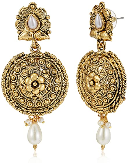 375a1d4d8 SIA Art Jewellery Drop Earrings for Women Golden AZ3171 Earrings available  at Amazon for Rs.