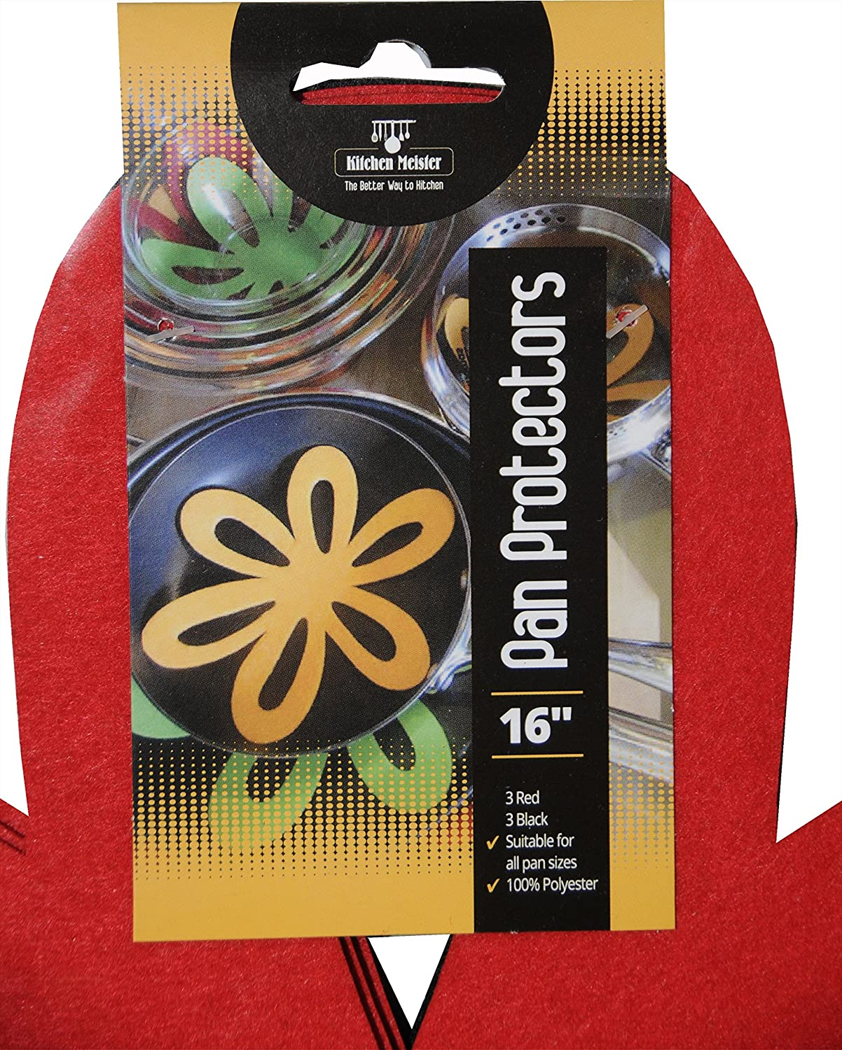 16 Felt Padded Pot and Pan Protector Prevent Scratching or Locking Together When Stored or Stacked 6 Pack-2 sizes Kitchen Meister Kitchenware Surface Protector