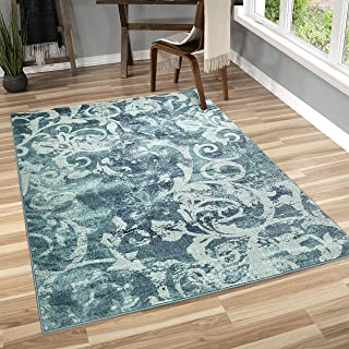 "product image for Orian Rugs Watercolor Scroll Area Rug, 6'7"" x 9'8"", Aqua"