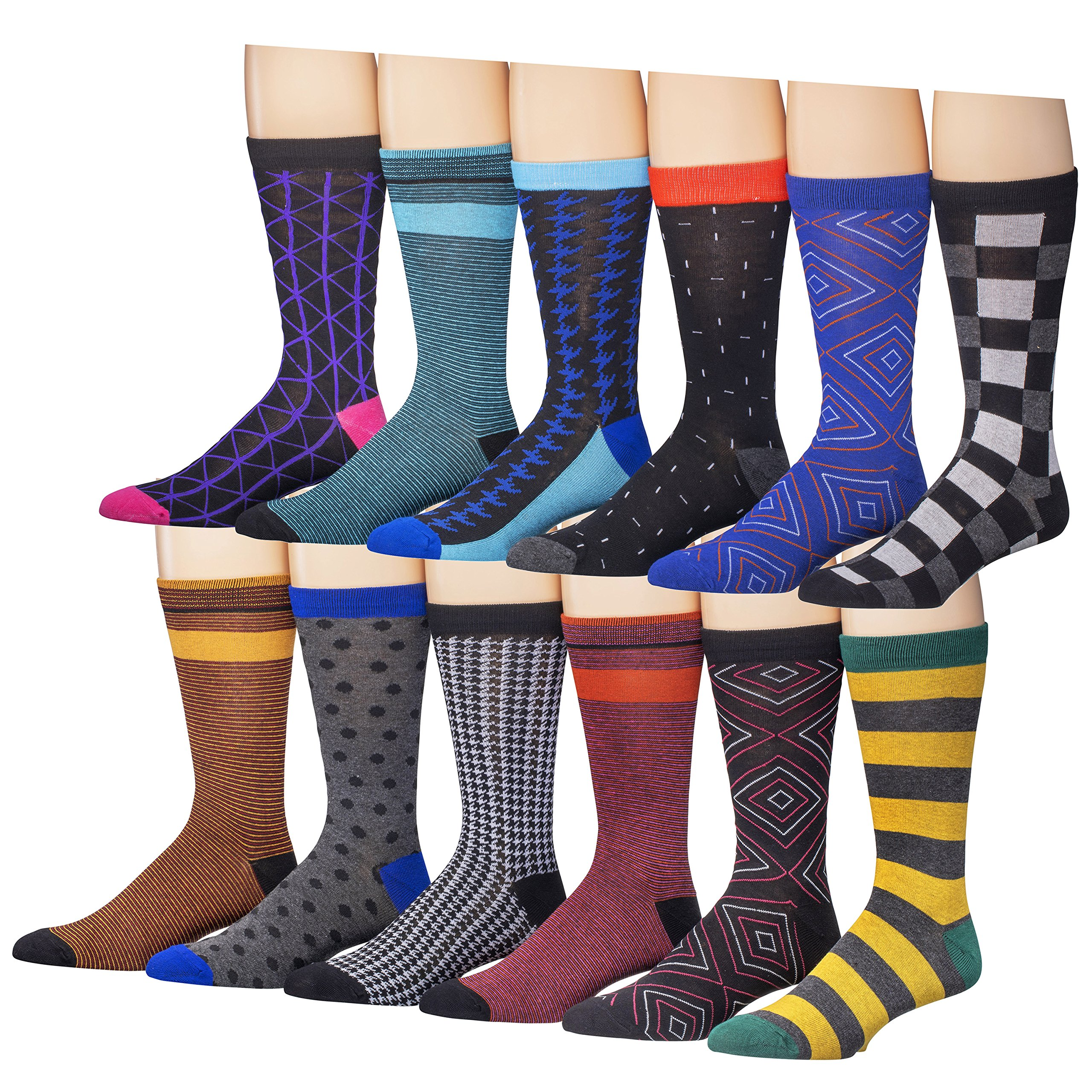 Beged Cotton Crew Funky Dress Socks for Men (12-Pack) – Fun Colorful Patterns -3400