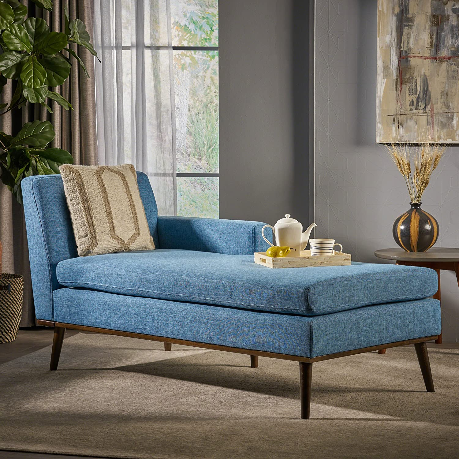 Walnut Great Deal Furniture 304046 Sophia Mid Century Modern Muted Blue Fabric Chaise Lounge