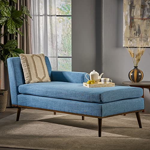 Christopher Knight Home Sophia Mid Century Modern Fabric Chaise Lounge, Muted Blue Walnut