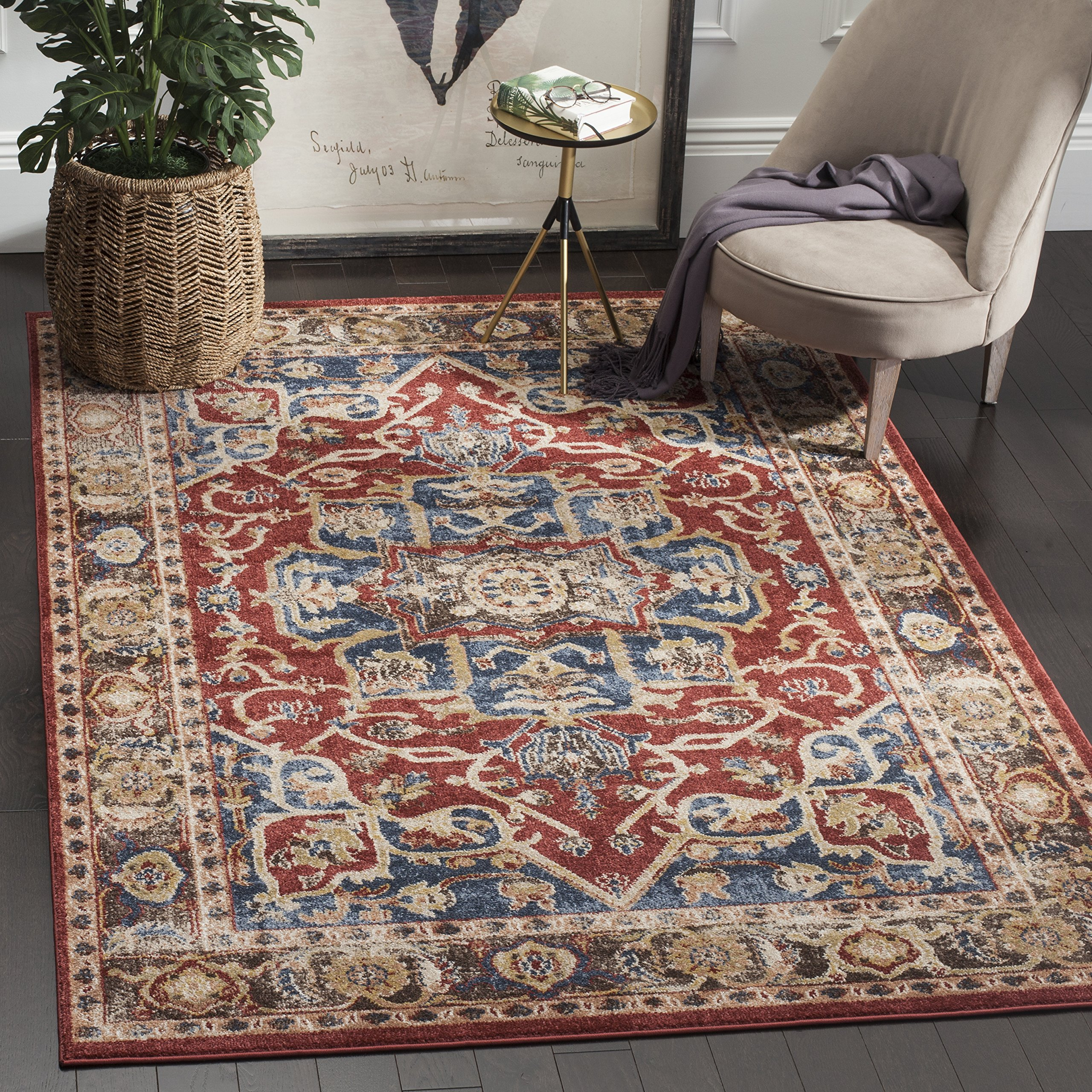 Safavieh Bijar Collection BIJ605R Red and Royal Blue Vintage Oriental Area Rug (10' x 14') by Safavieh