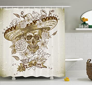 Day Of The Dead Shower Curtain By Ambesonne Wooden Floral Leaves With Mexican Spanish Festival
