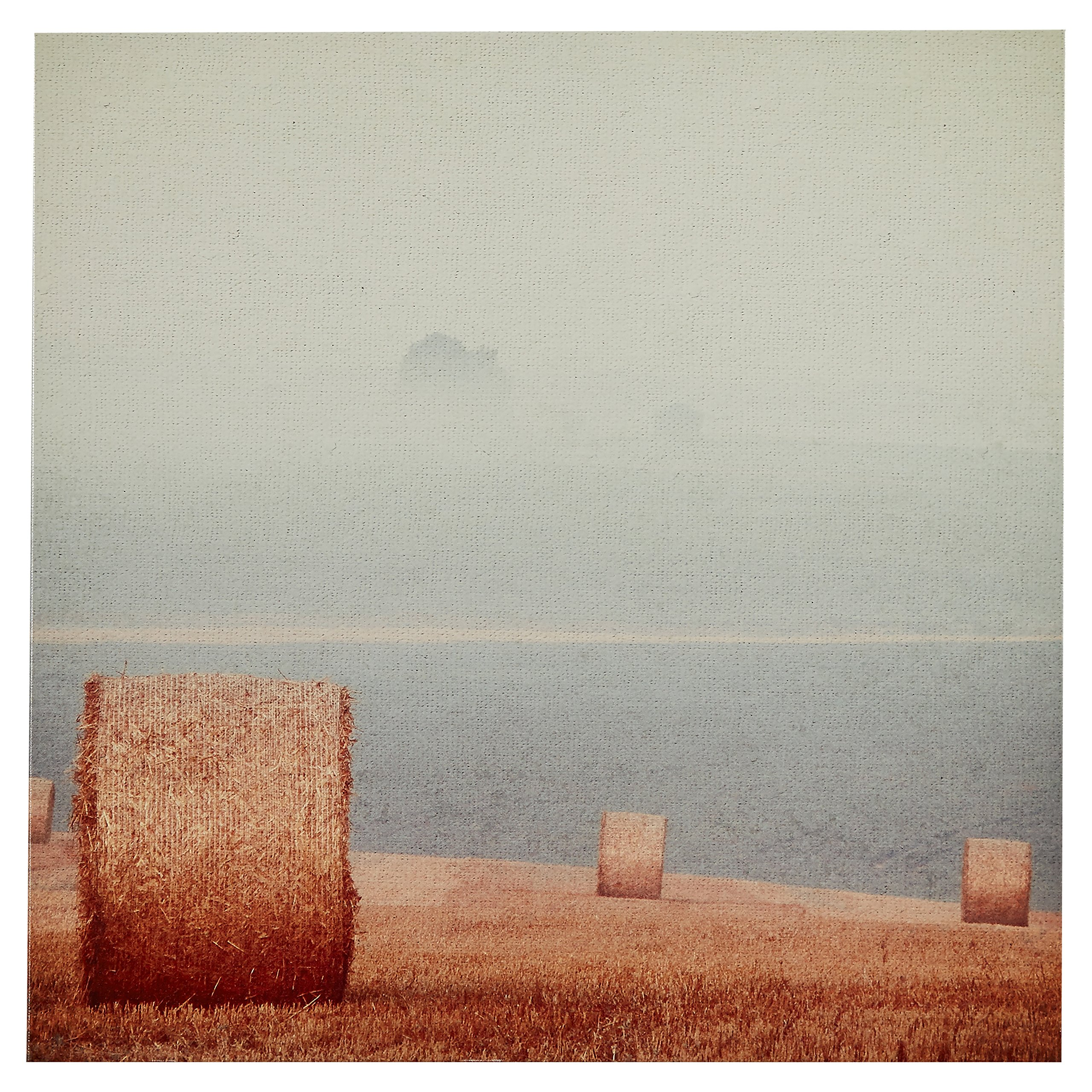 Contemporary Gold and Grey Hay Bales Print on Canvas, 30'' x 30''