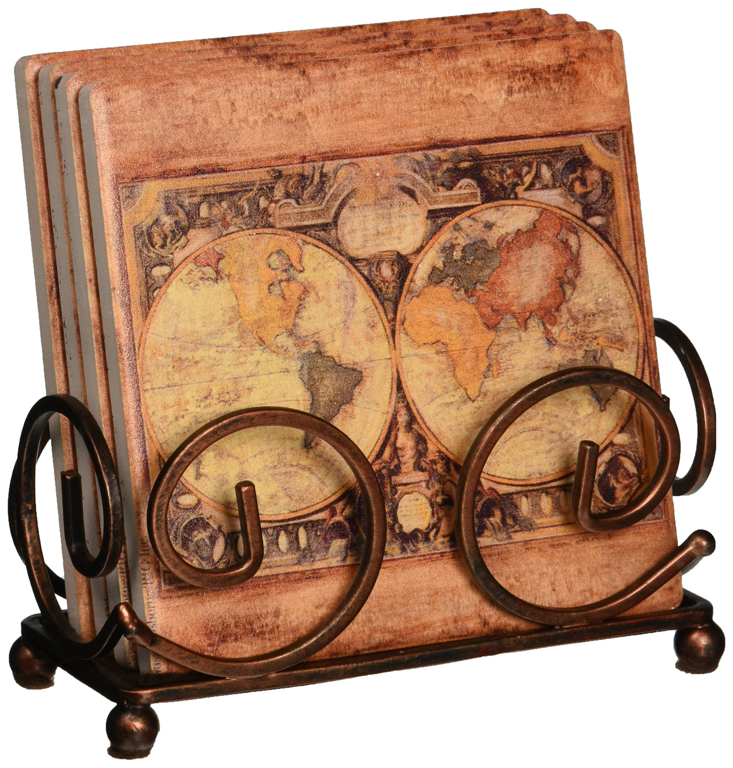 Thirstystone Occasions Stoneware Drink Coasters with Holder, Includes Old World Map by Thirstystone