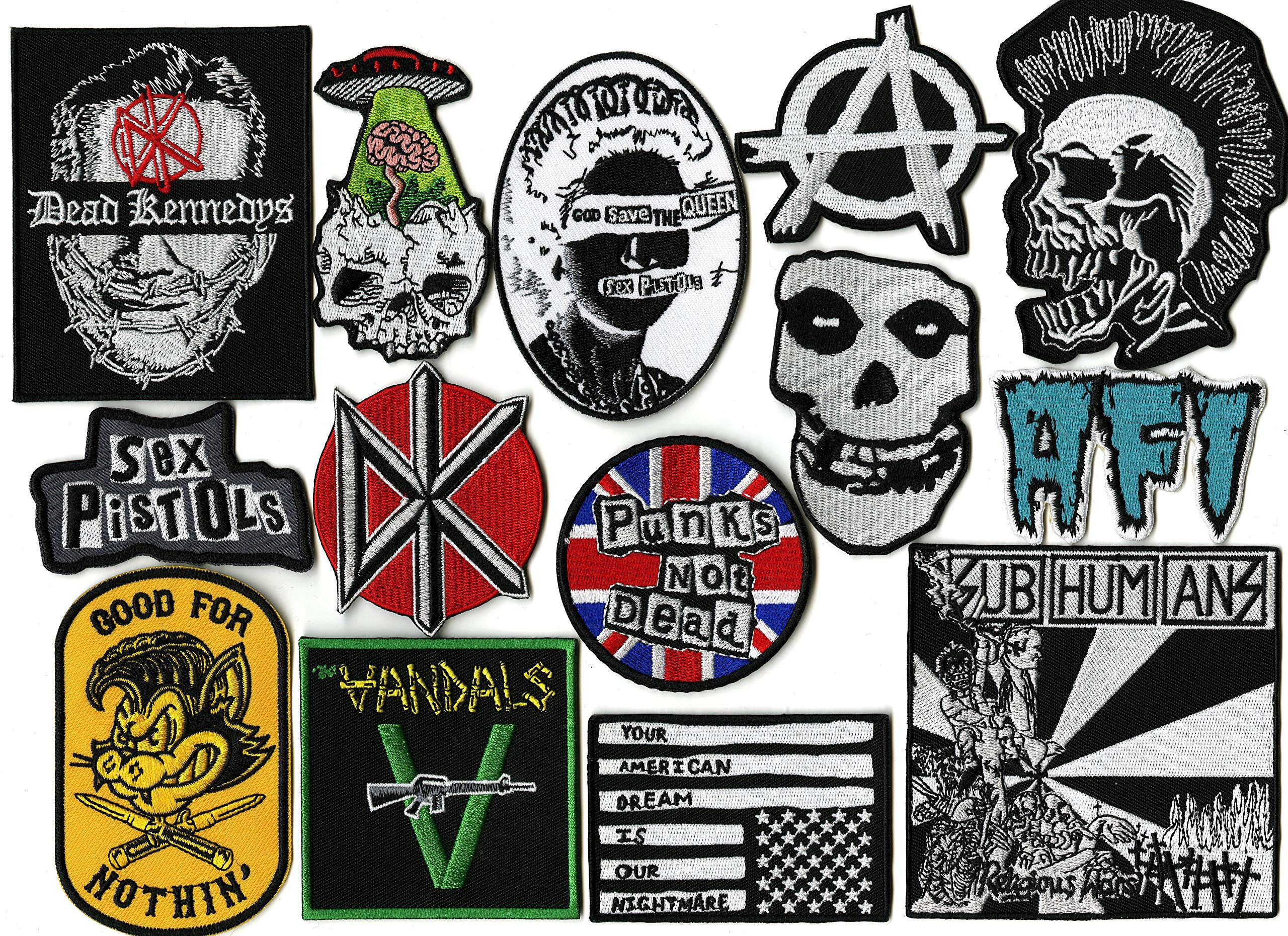14 pc Punks Not Dead Patch Set | Dead Kennedys | Misfits | The Vandals | Anarchy | AFI | SUBHUMANZ | Metal Skull | Small Embroidered Band Patches - by Nixon Thread Co. by Nixon Thread Co.