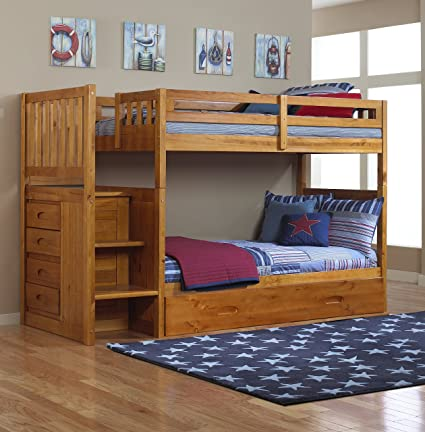 Amazon Com Mission Twin Over Twin Staircase Bunk Bed With Trundle