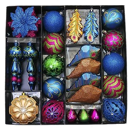 vm valery madelyn 50ct shatterproof christmas balls ornaments regal peacock 197inch 689inch - Peacock Christmas Tree Skirt