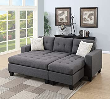 Amazon.com: Esofastore Modern Living Room Bobkona All In One Sectional Blue Grey Polyfiber Reversible Sectional Sofa Chaise Pillows XL-Ottoman: Furniture & Decor