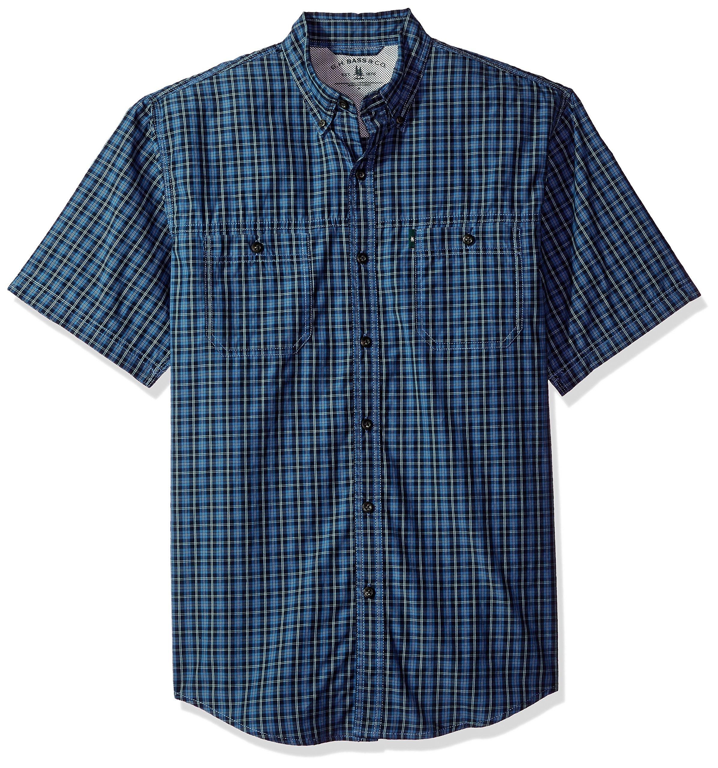 G.H. Bass & Co. Men's Explorer Fancy Short Sleeve Plaid Shirt, Rich Navy Blazer, Large