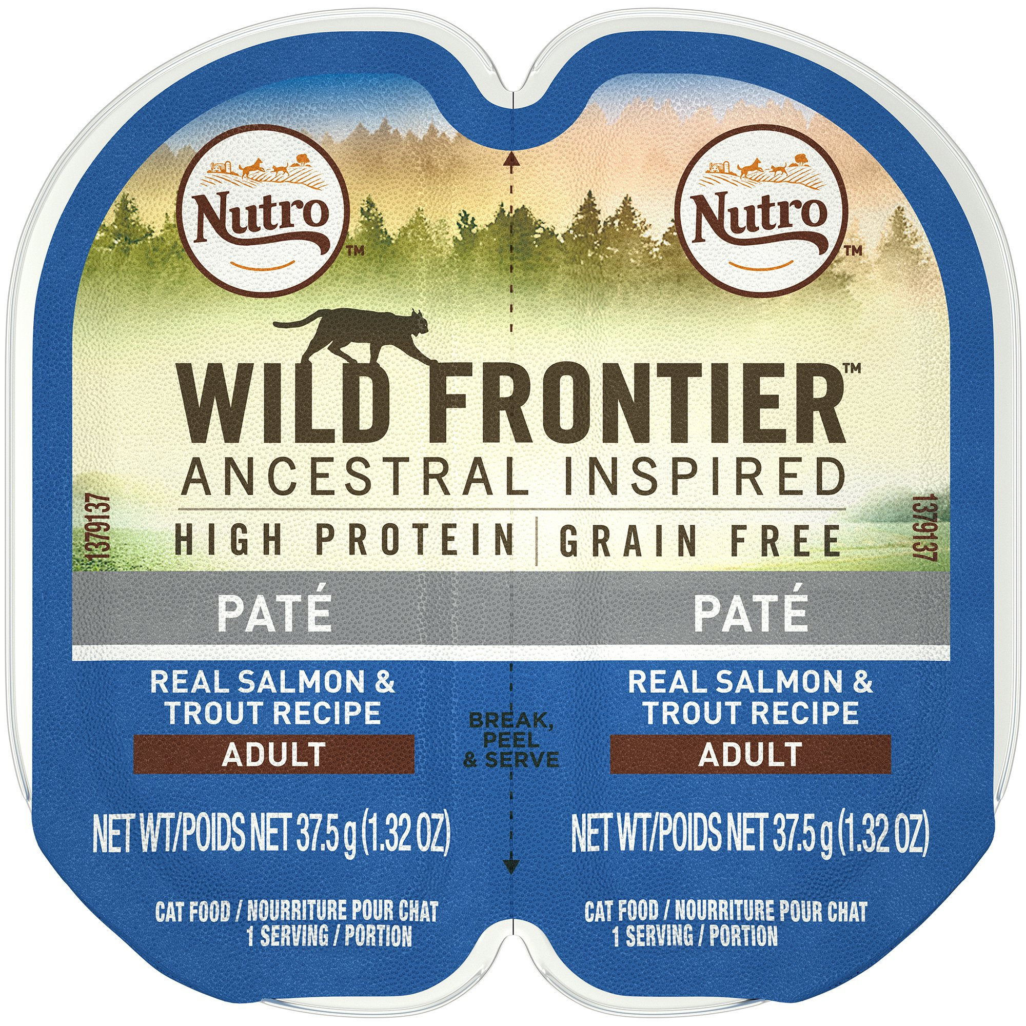 Nutro WILD FRONTIER High Protein Grain Free Pate Wet Cat Food, Salmon & Trout, 2.65 oz. (24 Twin Packs)