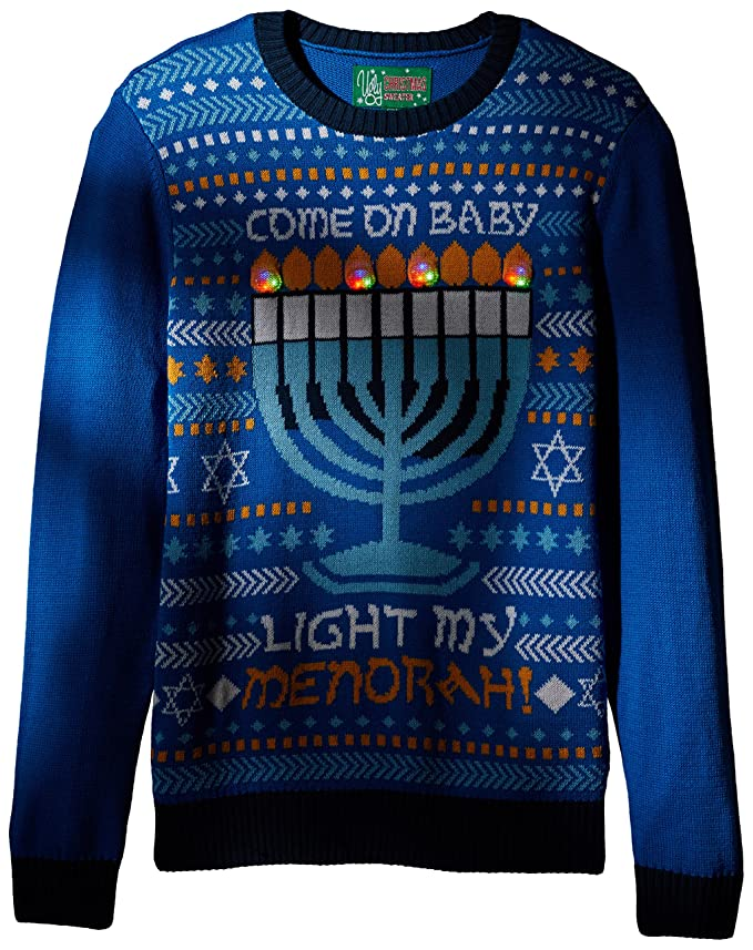 Ugly Christmas Sweater Company Mens Light My Menorah Sweater At