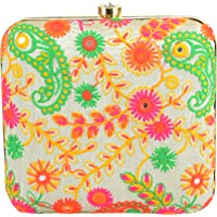 Tooba Handicraft Party Wear Hand Embroidered Box Clutch Bag Purse For Bridal, Casual, Party, Wedding (White)
