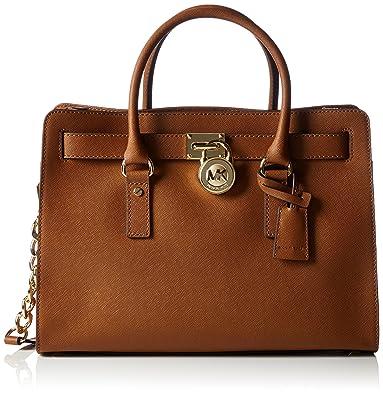aef973ff02277c Michael Kors Hamilton Large Saffiano Leather Satchel, Women's Top-handle Bag,  Brown (